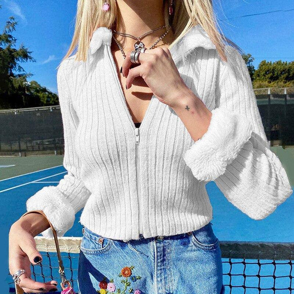 Chronstyle Women Sweater 2020 Long Sleeve Crop Tops Knitwear Cardigans Fur Fluffy Neck Stitching Knitted Outwear Slim Fit Sweater 2020