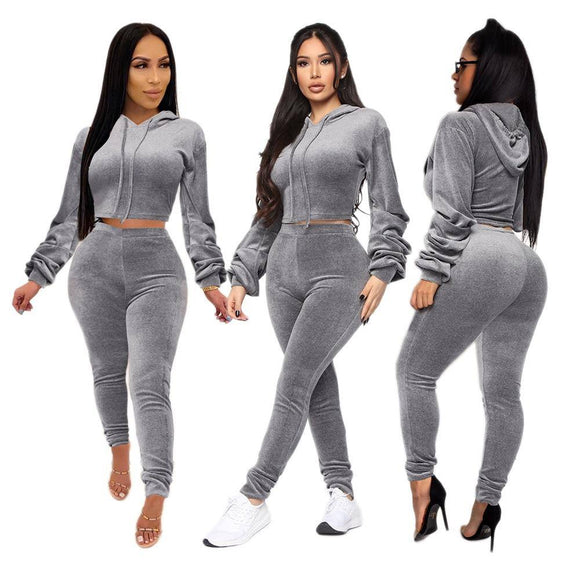 Autumn Winter Warm Two Piece Set Women Tracksuit Hooded Sweatshirt 2020 Top And Pant Suit Elegant Ladies Sweat Suit 2 Piece Set