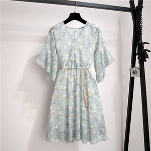Spring Summer Chiffon Dress 2020 Women Knee Length V-Neck Print Dress 2020 Sweet Ruffle Sleeeve Slim New Casual Drawstring Women Dress 2020
