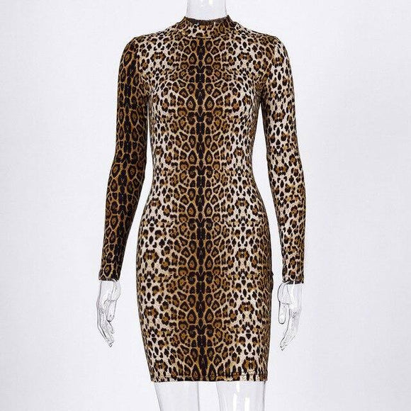 Long Sleeve High Neck Leopard Print Sexy Bodycon Mini Dress 2021 Autumn Winter Women Fashion Christmas Party Clothes