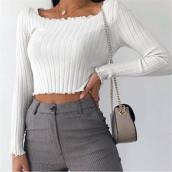 Spring White T Shirt 2020 Women Long Sleeve White Crop Top 2020 Fashion Lady White Knitted Top 2020 Solid Sexy Short t-shirt