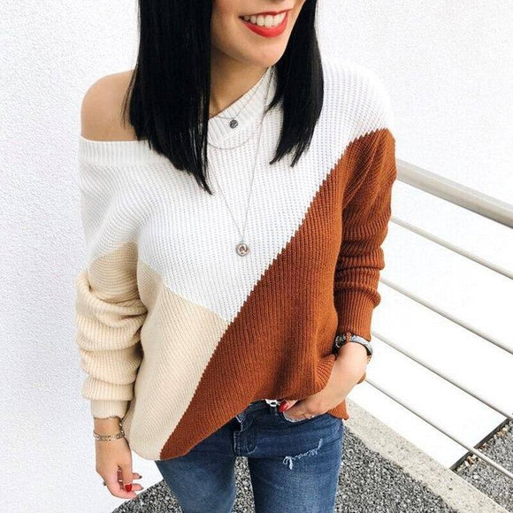 Women Fashion One Shoulder Top Femme Elegant Multicolor Knitted Sweater 2020 Long Sleeve Pull Femme Hiver Truien Dames Streetwear