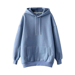 Casual Solid Hooded Hoodies Women Batwing Long Sleeve Plus Size Sweatshirt 2020 Autumn Pullover Pure Fashion Tops