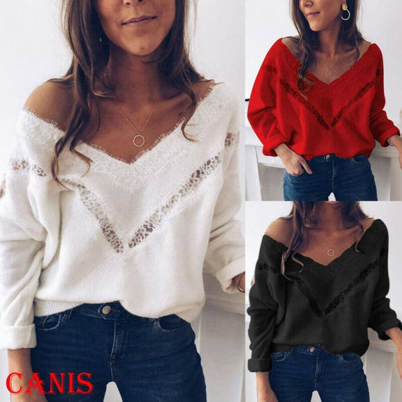 Women Autumn Winter Loose T-Shirt Casual Long Sleeve V-Neck Shirt Solid Color Women Clothes Top 2020
