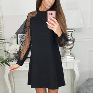 Elegant Women Dress 2020 Black Round Neck Mesh Sleeve Polka Dot Patchwork Black Summer Party Dress 2020