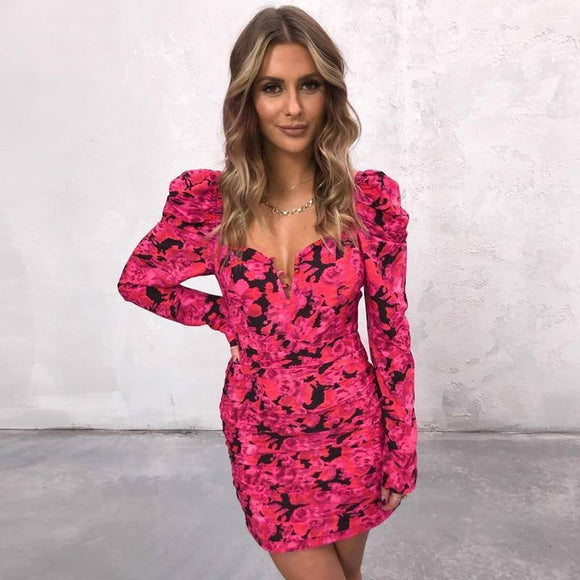Long Sleeve V-Neck Floral Print Sexy Mini Dress 2020 Autumn Winter Women Christmas Party Outfits Streetwear