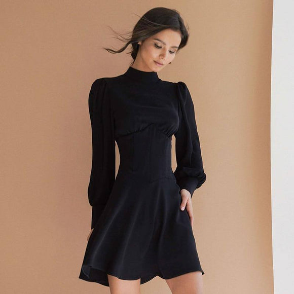 Long Sleeve Dresses 2020 Mnealways18 Turtleneck Bodycon Woman Dress 2020 Lantern Sleeve Elegant Black Dress 2020 Autumn Winter Ruched A-Line Dress 2020 Fashion