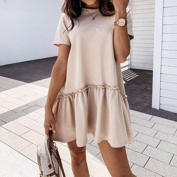 Fashion Casual Solid Color Round Neck Fuffled Short Sleeve Women Dress 2020 Casual Short Sleeve Women Dress 2020 Summer Dress 2020 Women