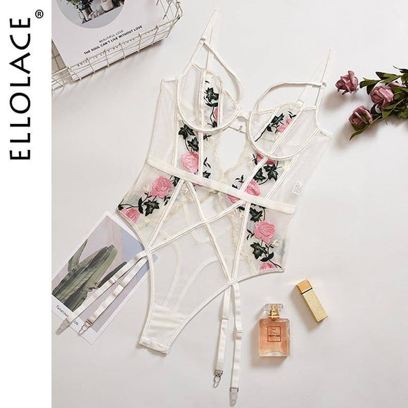Ellolace Sexy Bodysuit Women Floral Body Embroidery Backless Push Up Bodys Sexy Overalls Female Romper 2020 Hollow Out Bodysuits
