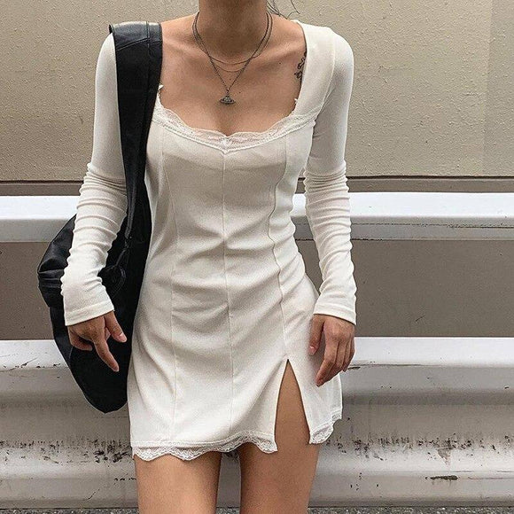 Autumn Spring Women Sexy Lace Patchwork Long Sleeve Split Dress 2020 Hip Package Mini Vestido Party Club Low Chest Outfits Cloth