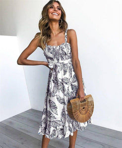 New Summer Women Sleeveless Slim Ruffles A-Line Long Dress 2020 Sexy Off Shoulder Backless Spaghetti Strap Casual Sashes Print Dress 2020
