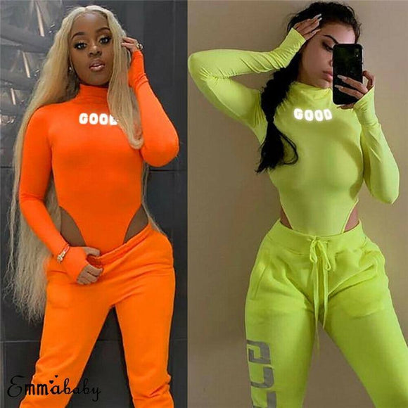 Sexy Women Reflective Letter Print Neon Green Playsuit Bodysuit Clubwear Long Sleeve Autumn Slim Jumpsuit 2020 Rompers Tops