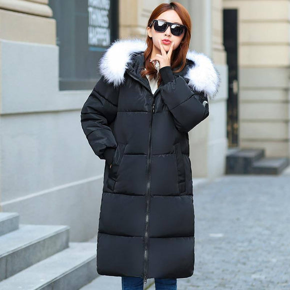 Winter Jacket 2020 Large Fur Hooded Plus Size Women Thick Parkas 2020 Long Winter Coat 2020 Women Down Cotton Lady Wadded Jacket 2020 Female Women's Trench Coat 2020