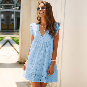 Solid Hollow Out Short Dress 2020 Women New Sexy V Neck Butterfly Sleeve Hollow Lace Dress 2020 Casual Loose Summer Women Dress 2020