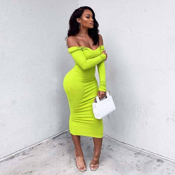 Deep V-Neck Off Shoulder Women Long Maxi Dress 2020 New Sexy Spring Autumn Dress 2020 Long Sleeve Pure Color Bodycon Slim Party Dress 2020