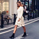 Winter Women Warm Sweater Midi Dress 2020 Elegant Long Sleeve Bodycon Stretch Ladies Dress 2020 Casual Plain Classic Streetwear