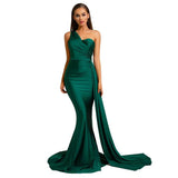 Asymmetrical Evening Dresses 2020 One Shoulder Sexy Brugundy Satin Maxi Dress 2020 Draped Long Evening Party Dress Gown Royal Blue