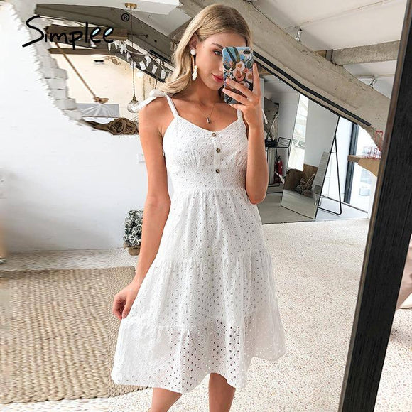 Simplee Casual White Women Summer Beach Dress 2020 Bow-Knot Spaghetti Embroidery Female Midi Dress 2020 Backless Holiday Dress 2020 Vestidos