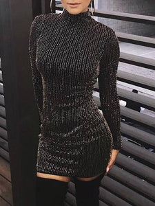 Hot Women Sequined Long Sleeve Tassel Bodycon Party Dress 2020 Clubwear Turtleneck Skinny Casual Sexy Club Short Mini Pencil Dress 2020