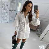 Long Puff Sleeve Buttons Ruched Sexy Mini Dress 2020 Autumn Winter Women Fashion Streetwear Pure Party Lady Outfits