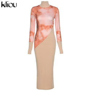 Printed See Through Sexy Hot Bodycon Maxi Dress 2020 Women Turtleneck Party Clubwear Outfit Patchwork Slim Female Dress 2020