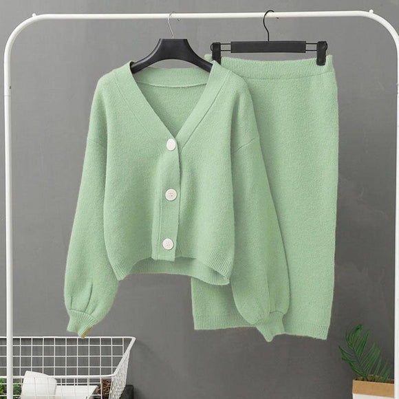 Sexy Skirt Cny Store Knitted Women'S Two-Piece Set Women'S Two-Piece Sweater Set Retro Long-Sleeved Cardigan Women'S Midi Skirt 2021 Set