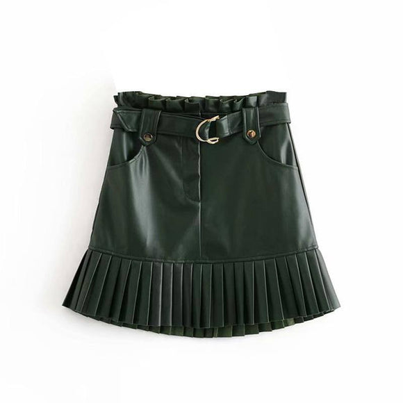 Sexy Skirt Fitaylor Women Chic Pu Leather Pleated Skirt 2021 Ruffles Tie Belt Waist Pocket Skirt 2021 Zipper Fly Ladies Elegnt Mini Skirt 2021 Jupe Femme