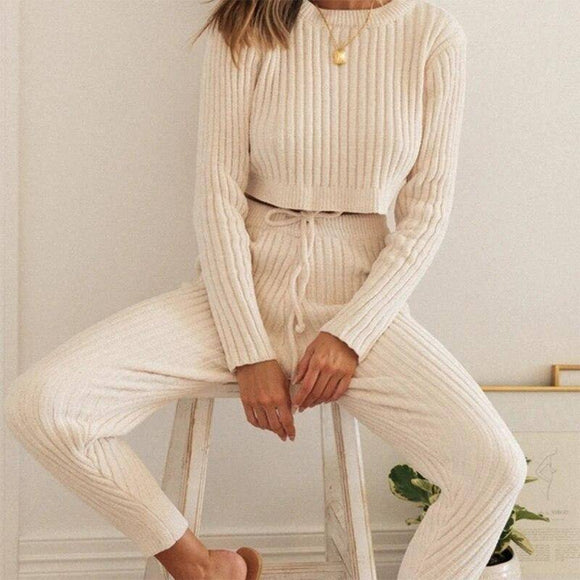 Knitted Ribbed Cropped Backless Women'S Suits Autumn Long Sleeve Pullover Female Set New Casual Ladies Pants 2 Piece Sets