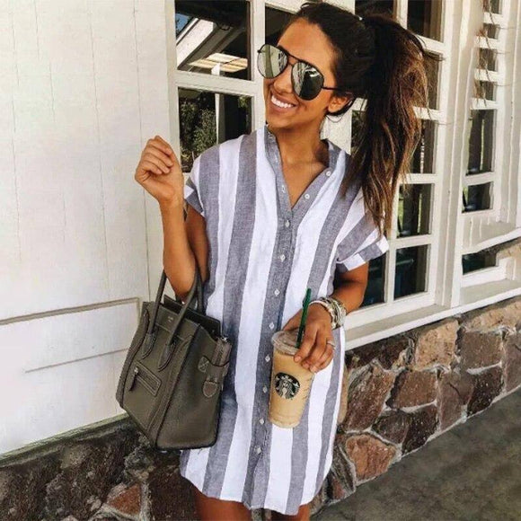 Summer Dress 2020 Striped Casual Mini Dress 2020 Ladies Short Sleeve Stand Collar New Fashion Mini Dress 2020 Beach Style Loose Boho