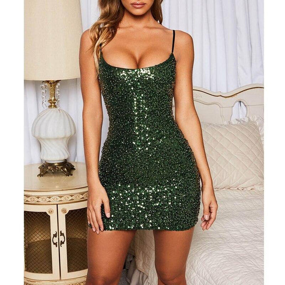 Women Summer Clothes Sexy Green Purple Sequin Bodycon Tunic Mini Dress 2020 Elegant Spaghetti Strap Party Night Club Dress 2020 Sundress