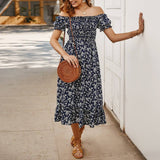 Women Boho Dress 2020 Floral Print Dress 2020 Off Shoulder Bandeau Strapless Short Sleeve Sundress Ruffles Casual Elegant Dress 2020 Ropa#45