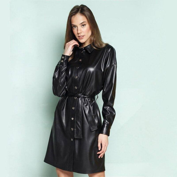 Women Casual A-Line Sashes Pu Leather Mini Dress 2020 Office Lady Black Long Sleeve Buttons Eleagant Autumn Winter Women Dress 2020
