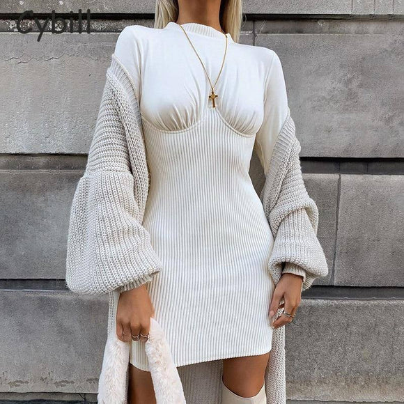 Cybill Patchwork White Bodycon Mini Dress 2021 Long Sleeve Ribbed Knitting Autumn Short Dress 2021 High Waist Casual Winter Dress 2021 Women