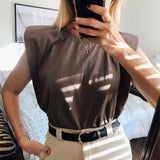 Summer Sleeveless Top 2020 Female O Neck White Women Blouse Shirt Ladies Loose Solid Chic Casual Blouses Black Cotton Brown