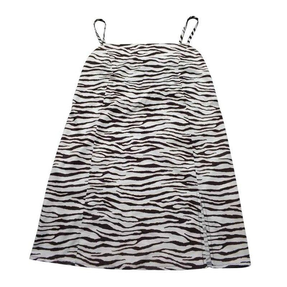 Women'S Fashion Zebra Printed Dress 2021 Sexy Halter Halter Neck Mini Dress 2021 Night Club And Party Daily Wear