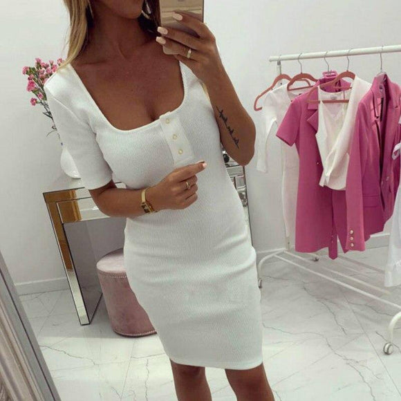 Women Dress 2020 Party Night Sexy Solid Color White Pink V Neck Button Short Sleeve Women Dress 2020 Bodycon Dress 2020 Women