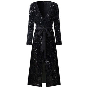 Black Sequins Wrap Dress 2020 Autumn Sexy Party Dress 2020 Woman Long Sleeve Deep V Dress 2020 For Women Vestido De Festa Front Fork D30