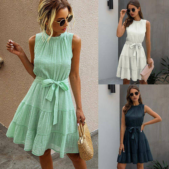 New Summer Women O-Neck Solid Sleeveless Sashes Midi Dress 2020 Sexy Fashion Casual Loose Draped Elegant Female White Princess Dress 2020