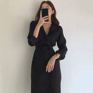 Women'S Elegant Lapel Slimming Strap High Waist Side Single-Breasted Mid-Length Dress 2020