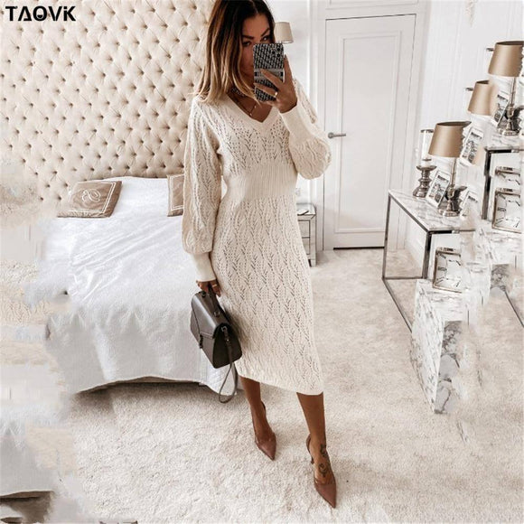 Taovk Women'S Solid Color Costume Knitted V-Neck Hollow Lantern Sleeve Knit Dress 2020