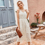 White Sexy Lace Low Cut Party Dress 2020 Women Sleeveless Elastic Waist Mid-Calf A Line Dress 2020 New Fashion Hollow Out Sundress