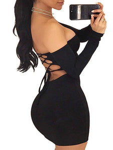 Autumn Long Sleeve Dress 2020 Robe Up Club Bodycon Mini Dress 2020 Vestido Clothing Dropshipping Women'S Sexy Off Shoulder Backless Lace
