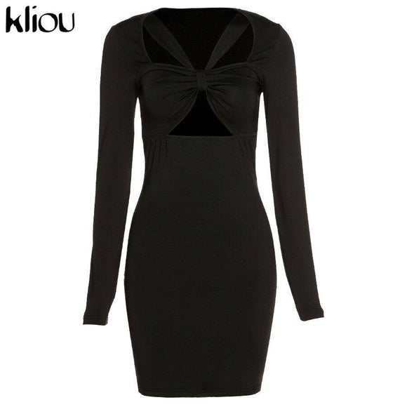 Kliou Sexy Hollow Out Strap Tied Cube Mini Dress 2021 Women Autumn Skinny Solid Empire Waist Bikini Top Bodycon Club Party Hot Wear
