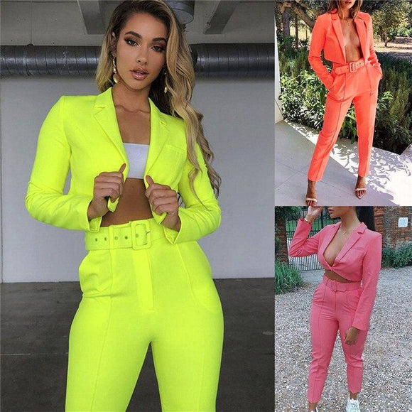 New Women Solid Long Sleeve Short Top 2020 Long Pants Suits Two Pieces Set Formal Tracksuit Outfit