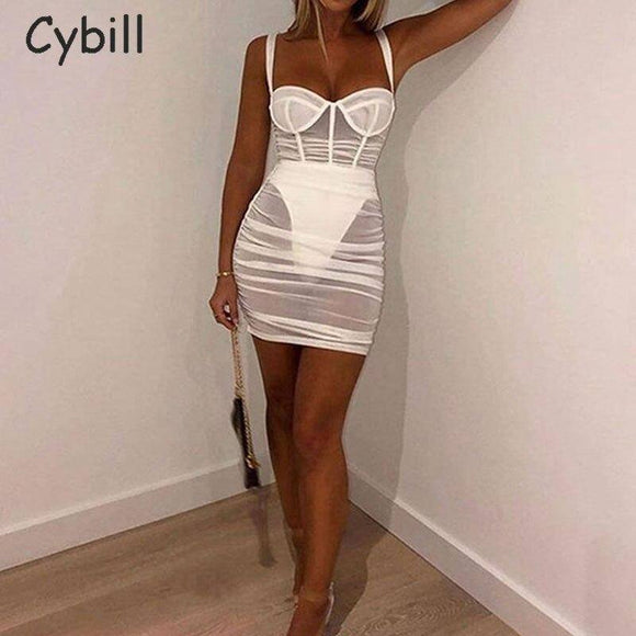 See Through Sexy Mini Dress 2020 Draped Sleeveless Mesh Party Dress 2020 Red Back Sundress Zipper Pure Club Short Bodycon Dress 2020