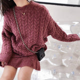 Women Winter Sweater Dress 2020 Clothes Set Ladies Knitted Autumn Long Sleeve Top And Mini Skirt Solid Color Loose Vintage O Neck Fall
