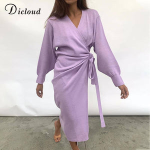 Lilac Women'S Long Knitted Robe Wrap Dress 2020 Sexy V Neck Acrylic Sweater Midi Dress 2020 Winter Spring Home Knitwear Ladies
