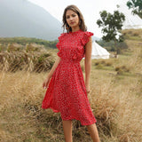 Chiffon Dress 2020 Women Elegant Summer Floral Print Ruffle A-Line Sundress Casual Fitted Clothes To Knees Red Dress 2020 For Women
