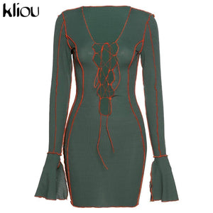 Long Sleeve Dresses 2020 Kliou Hollow Out Bandage Strap Flare Sleeve Mini Dress 2020 Women V-Neck Lace Up Skinny Ribbed Bodycon Autumn Sexy Club Party Outfits