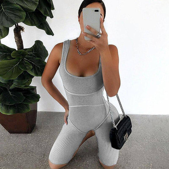 New Women Sleeveless Tank Jumpsuit 2020 Rompers Playsuit Bodycon Slim Solid Stretch Grey Black Jumpsuit 2020 Shorts Pants Trousers